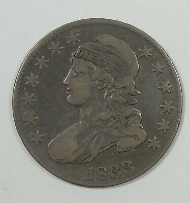 1833 Capped Bust/Lettered Edge Half Dollar FINE Silver 50-Cents