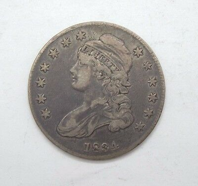 1834 SMALL Date/SMALL Letters Capped Bust Lettered Edge Half $ VF Silver 50c