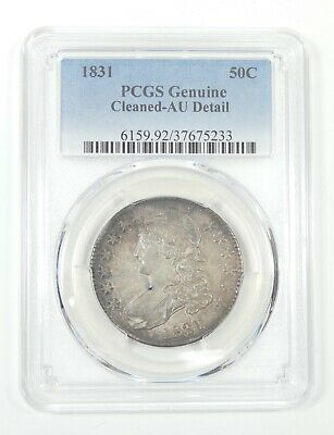 PCGS Genuine 1831 Capped Bust/Lettered Edge Half Dollar AU Detail Silver 50c