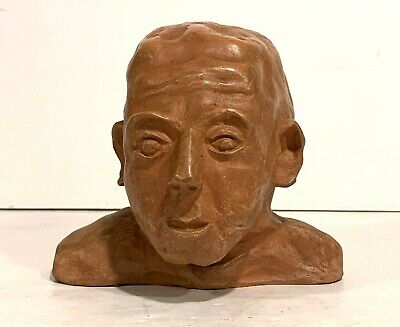 20th c. EXPRESSIONIST CERAMIC SCULPTURE of a MAN'S HEAD signed MOORE