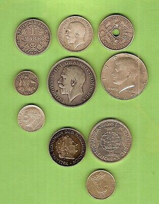 #C25.  #2. Lot Of Ten(10) Circulated  World Silver Coins
