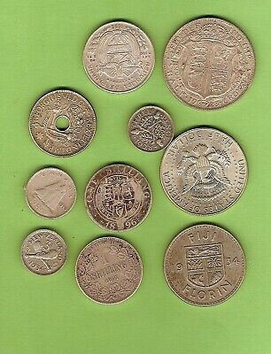 #C25.  #3. Lot Of Ten(10) Circulated  World Silver Coins