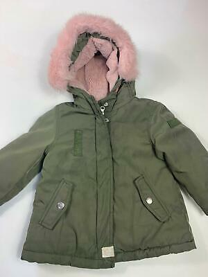 Girls Zara Baby Khaki Green Padded Winter Hood Rain Coat Kids Age 12/18 Months