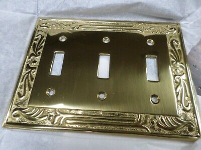 Solid Brass 3 toggle Light Switch Plate Cover-Vintage-NOS