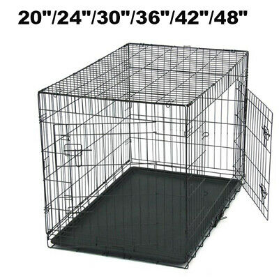 "24""/30""/36""/42""/48"" Pet Dog Cat Crate Kennel Cage Playpen Wire Folding Steel US"
