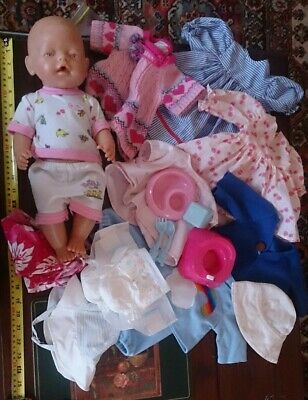 20-pc BIG Zapf BABY DOLL with Pink Eyes + Clothes + Accessories TOYS Mixed Lot