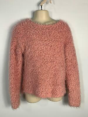 Girls Next Pink Fluffy Long Sleeve Pullover Jumper Sweater Top Kids Age 8 Years