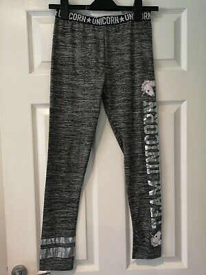 Girls unicorn legging Size 12 - 13 years new without tags black white silver