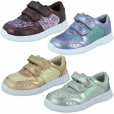 Infant Girls Clarks Light Hook & Loop Leather & Synthetic Trainers ATH Sonar
