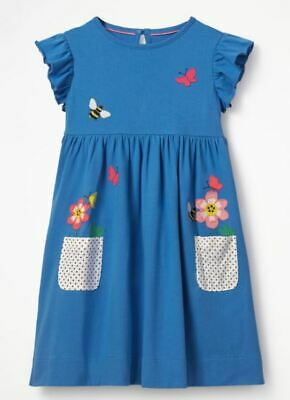 mini boden blue applique dress with pockets  age 3-4 girls flower bee