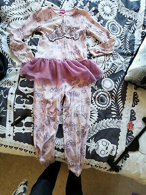 Girls Disney Pink Princess All In One Jumpsuit Pyjamas With Tutu Size 9