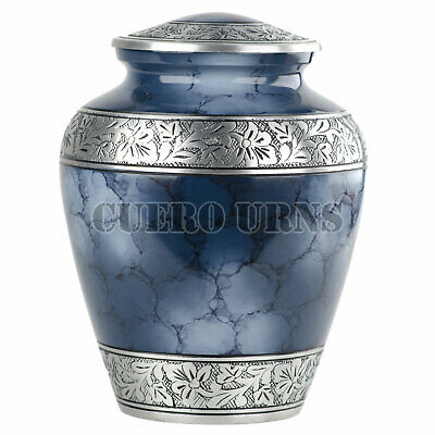Blue Fire Adult Cremation Urn for Human Ashes -