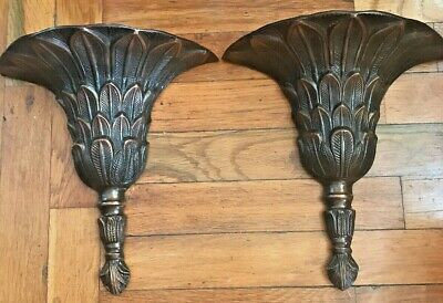 """Vintage Solid Brass Or Bronze - Floral Wall Decor - Heavy metal 10"""" T - 10"""" W"""