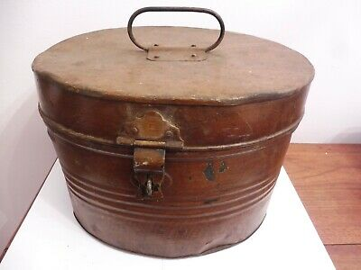Original Antique Victorian /Edwardian Metal Portable Hinged Lidded Hat Box