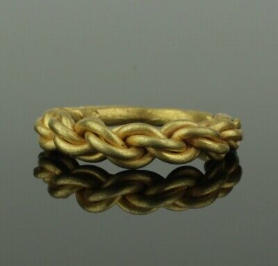 ANCIENT VIKING HEAVY BRAIDED GOLD RING - CIRCA 9th/10th CENTURY    (212)
