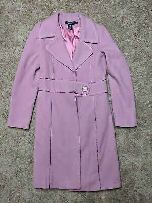 Arden B Luxe Pink Full Length Tweed Coat Size Small Wool Nylon Satin