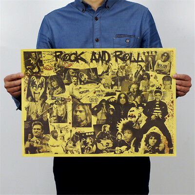rock and roll music posters rock singer personalised kraft paper wall stick BRC3