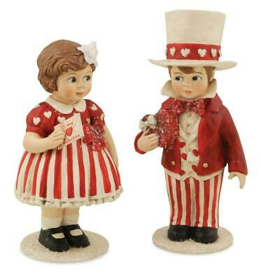 "Bethany Lowe Valentine Sweethearts Boy Girl Red White 5"" Kids Figure Set"