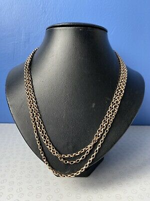 Victorian Antique 9K Yellow Gold Long Guard Muff Chain With Belcher Links