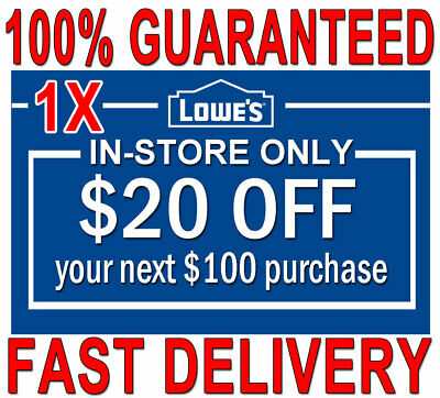 ONE (1×) Lowes $20 OFF $100 FAST DELIVERY  1COUPON INSTORE ONLY 𝐄𝐗𝐏 𝟔/𝟓