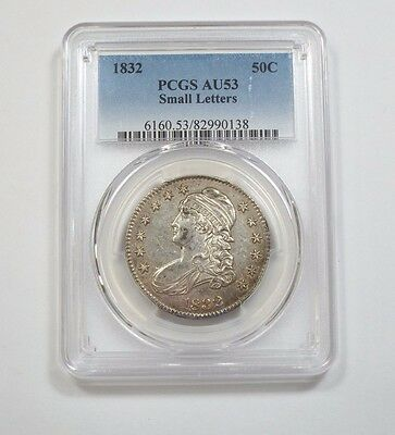 1832 SMALL Letters Capped Bust/Lettered Edge Half Dollar PCGS AU 53 Silver 50c