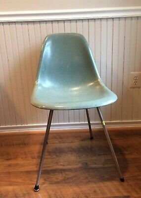 Early Mid-Century Eames DSX Seafoam Green Fiberglass Shell Side Chair X-Base