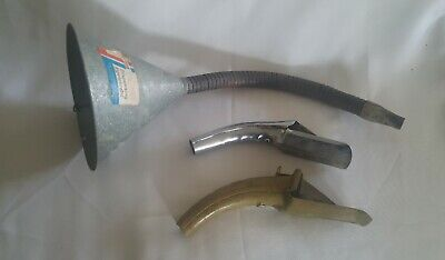 3 Vintage Metal Motor Oil Can Lube PLEWS Self Piercing Pour Spout/Nozzle &Funnel