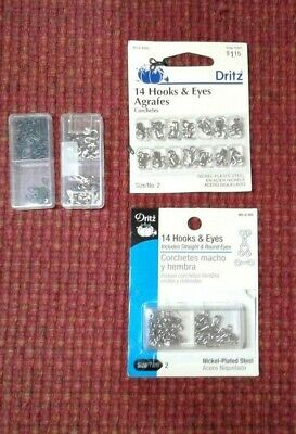 Lot of Dritz Hooks and Eyes Including Straight and Round Eyes