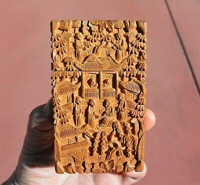 1930's Chinese Sandalwood Wood Carved Carving Card Case Box Figure Figurine