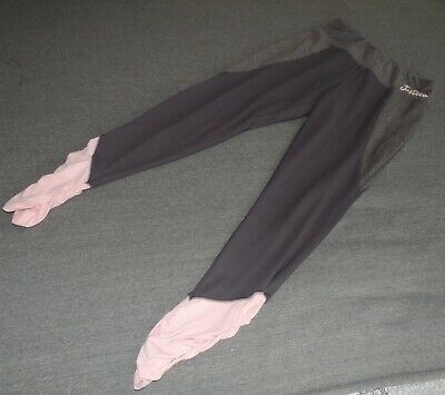 Justice Active Pants Leggings Size 18 Gray Pink Logo EUC