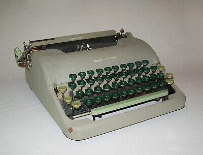 Vtg 1940s Smith Corona Sterling Typewriter Manual Portable W/ Case Works Great