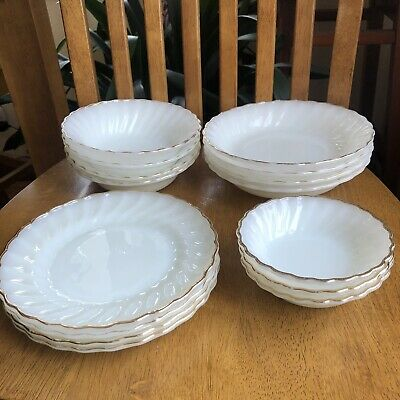 Anchor Hocking Fire King White Milk Glass Swirl Gold Trim Plates & Bowls Vintage