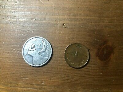 1x 1949 Canadian 80% Silver Quarter + 1x 1967 Penny 1 cent, 25 cent 2 coins lot