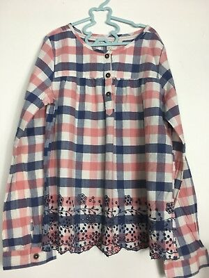 FAT FACE Girls Check Gingham Smock Top Age 10 - 11 Years