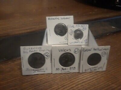 Ancient Lot of 4 Roman  and 1 Byzantine Coins different Emporers