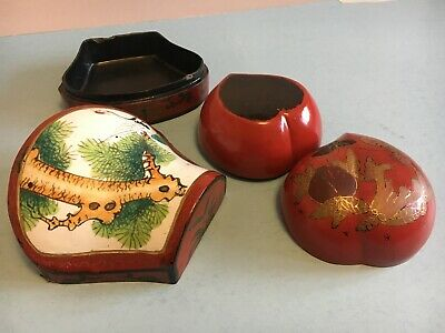 Two Antique Old Chinese Lacquer Ware Boxes from Qing dynasty and earlier