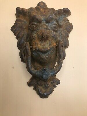 Antique Vintage Heavy Rusty Cast Iron Dragon Door Knocker