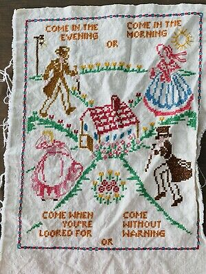 Linen Cross Stitch Sampler Complete Come Evening Morning Welcome Vintage 17x12