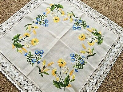 Tan Ecru Tablecloth with Blue Yellow Floral Crewel Embroidered Flowers Lace Edge