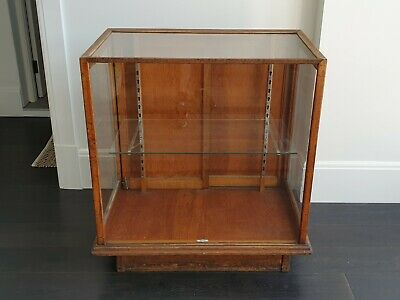 Vintage Timber Display Cabinet Antique Glass Showcase