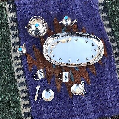 Sterling Silver Turquoise Tea Set