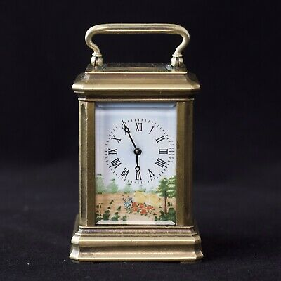Beautiful Miniature Brass Carriage Clock With Painted Ceramic Panels