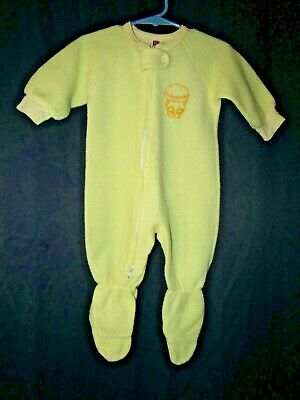 Vintage Sleeper Footie Pajamas Yellow One piece Sz 12 months Carters