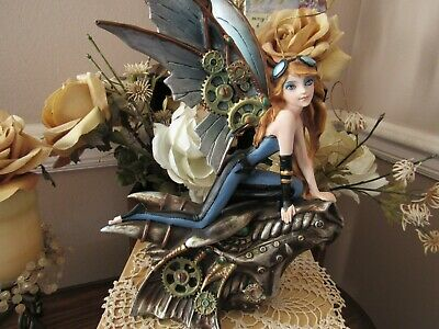 STEAMPUNK fairy figurine on DRAGON Head by Pacific Giftware Brand New in Box!