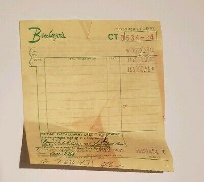 Vintage Bamberger's Department Store Receipt Shop Ephemera 1960s 1970s Yellow