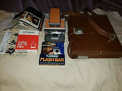Vintage Polaroid Sx-70 Land Camera In Case With Booklet, Film, & Flashbar
