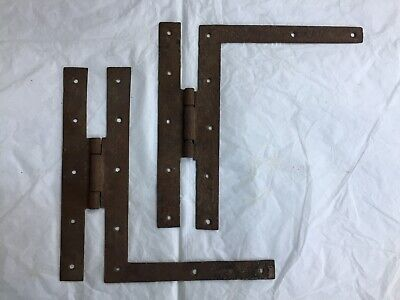 """2 Antique Hand Forged Wrought Iron H L Hinges Hardware Reclaimed 9"""""""