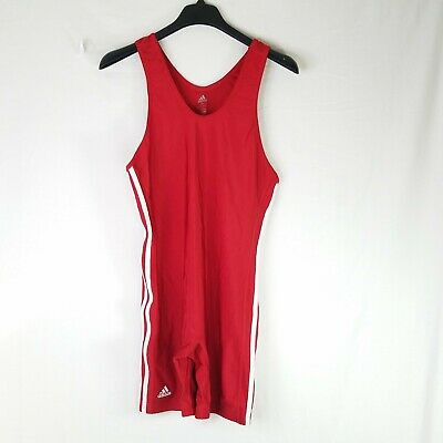 adidas 3-Stripe Mens Wrestling Singlet Red Large