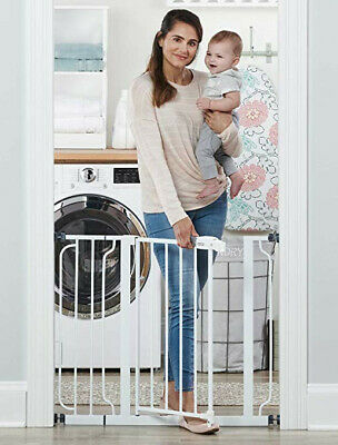 Regalo Easy Step Extra Tall Walk Thru Baby Gate, White, 38.5-Inch Wide, Pets 2!