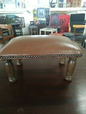 Light brown calf leather footstool solid oak refurbished